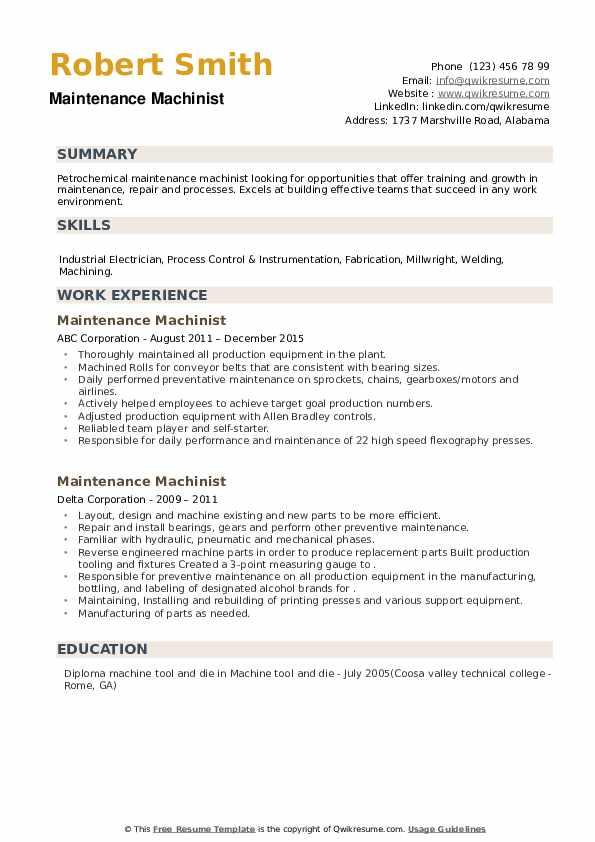 Maintenance Machinist Resume example