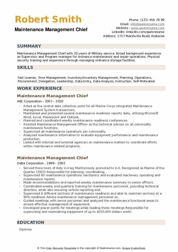 Maintenance Management Chief Resume example