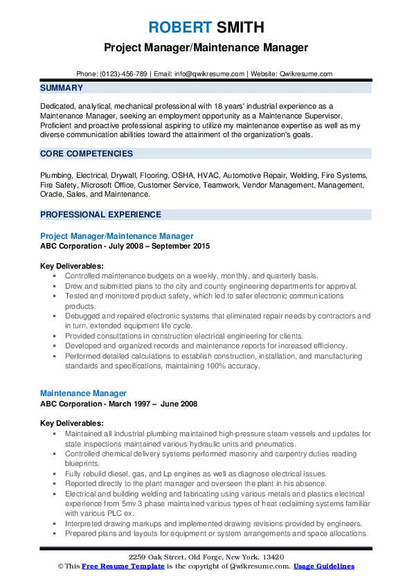 Project Manager/Maintenance Manager Resume Template