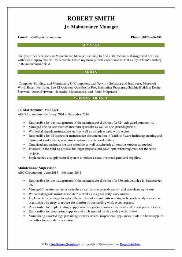 Jr. Maintenance Manager Resume Sample