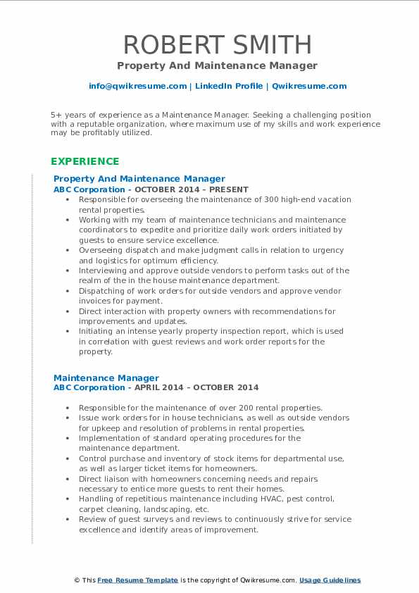 Property And Maintenance Manager Resume Format