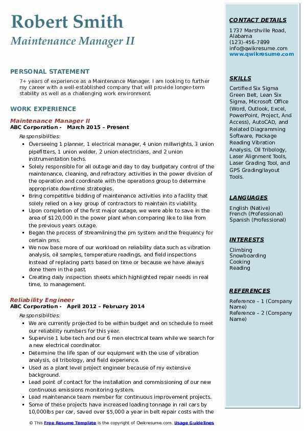 Maintenance Manager II Resume Sample