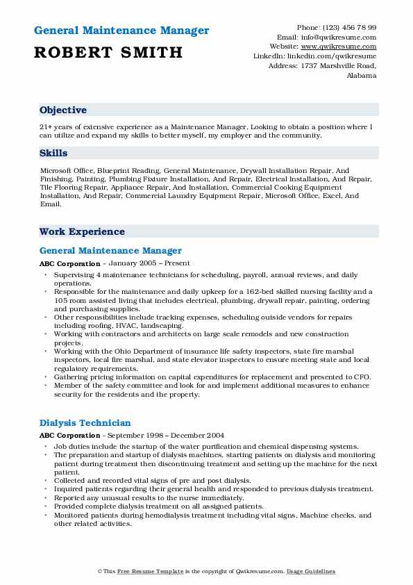 General Maintenance Manager Resume Format