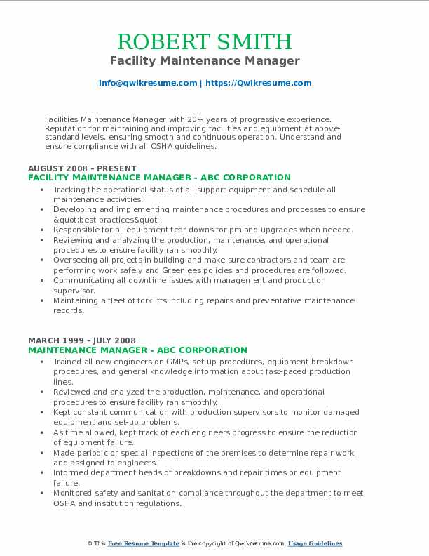 Facility Maintenance Manager Resume Format
