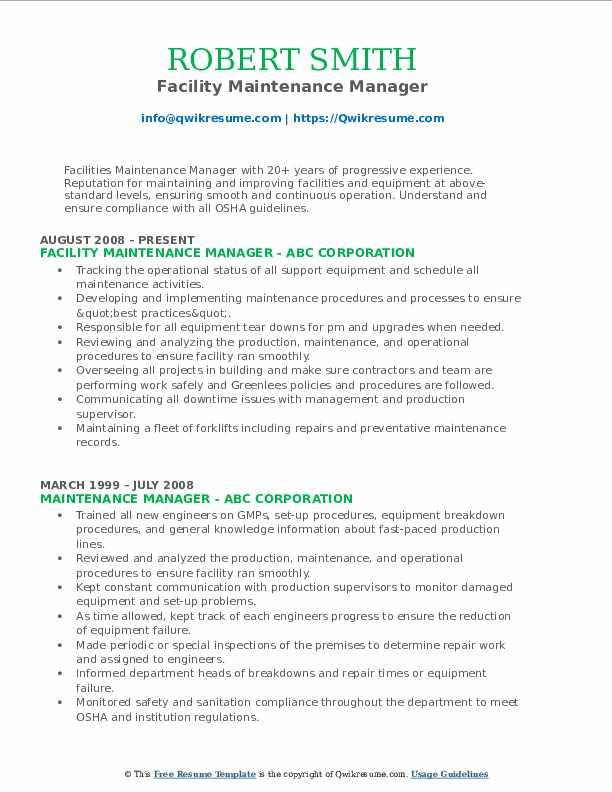 Facility Maintenance Manager Resume Example