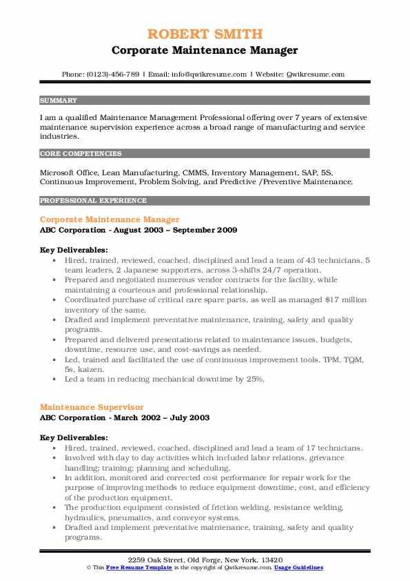 Corporate Maintenance Manager Resume Model