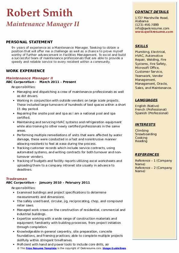 Maintenance Manager II Resume Format