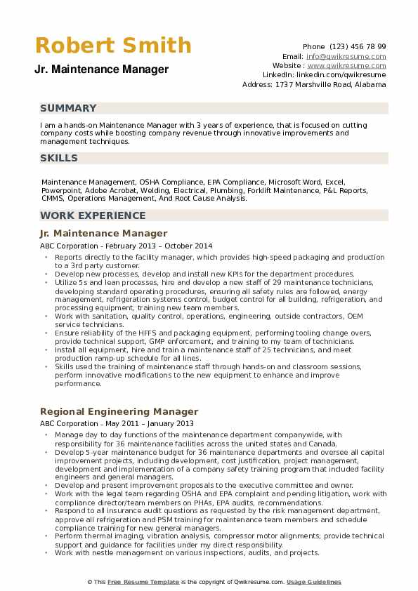 Maintenance Manager Resume example
