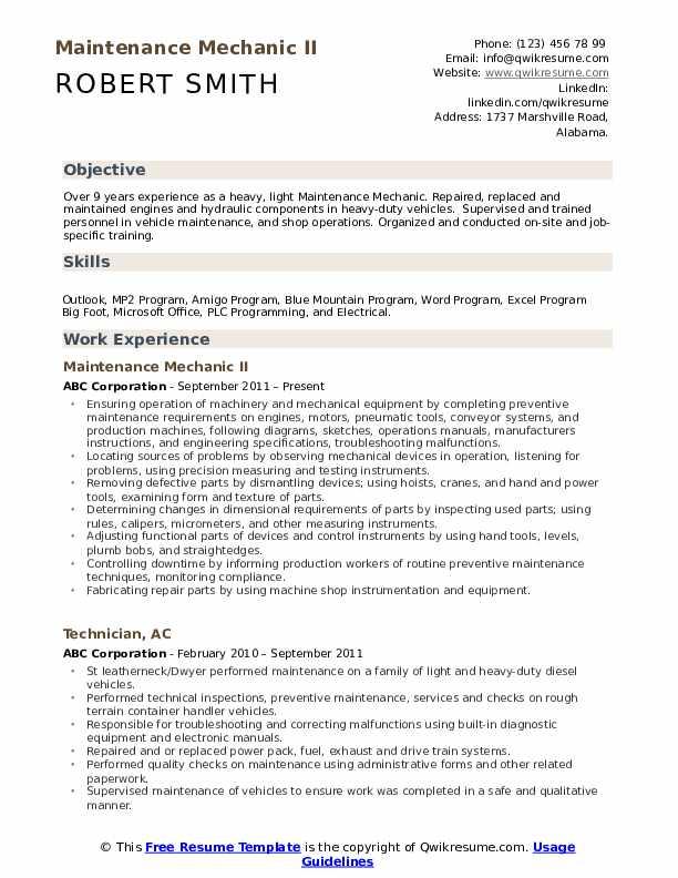 Maintenance Mechanic II Resume Model