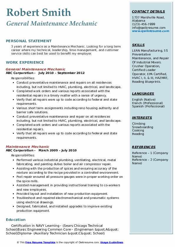 General Maintenance Mechanic Resume Model