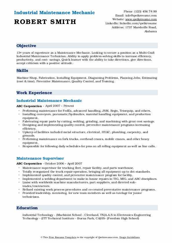 maintenance mechanic resume samples  qwikresume