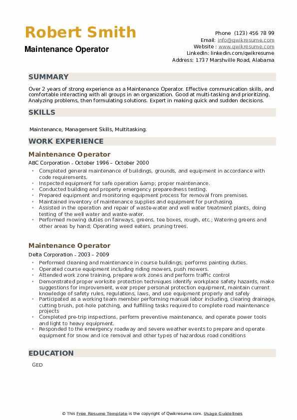 Maintenance Operator Resume example