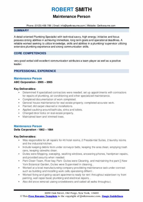Maintenance Person Resume example