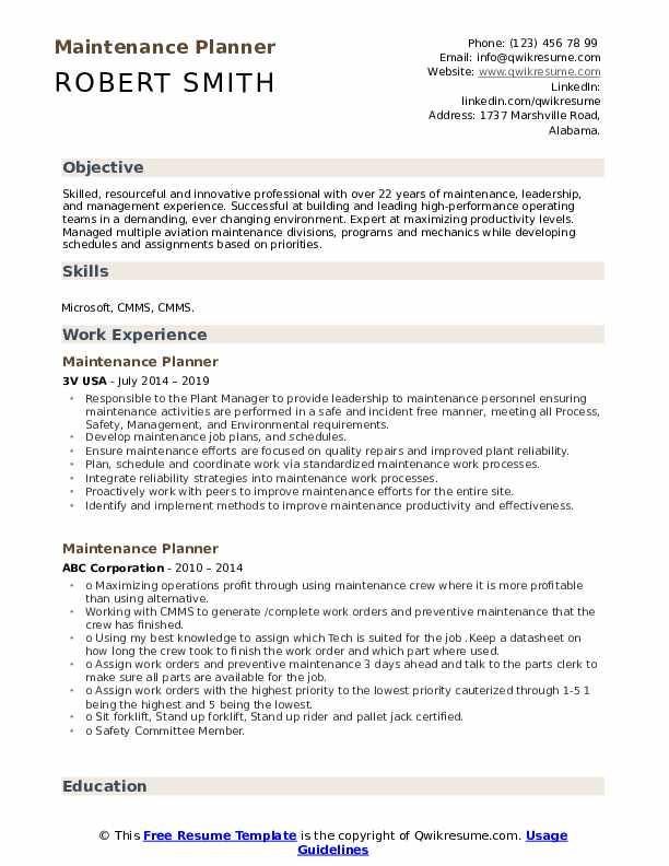 Maintenance Planner Resume Example