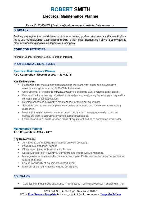 Electrical Maintenance Planner Resume Sample