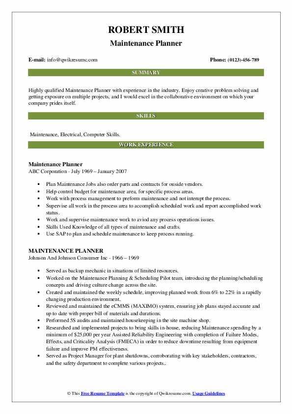 Maintenance Planner Resume Template