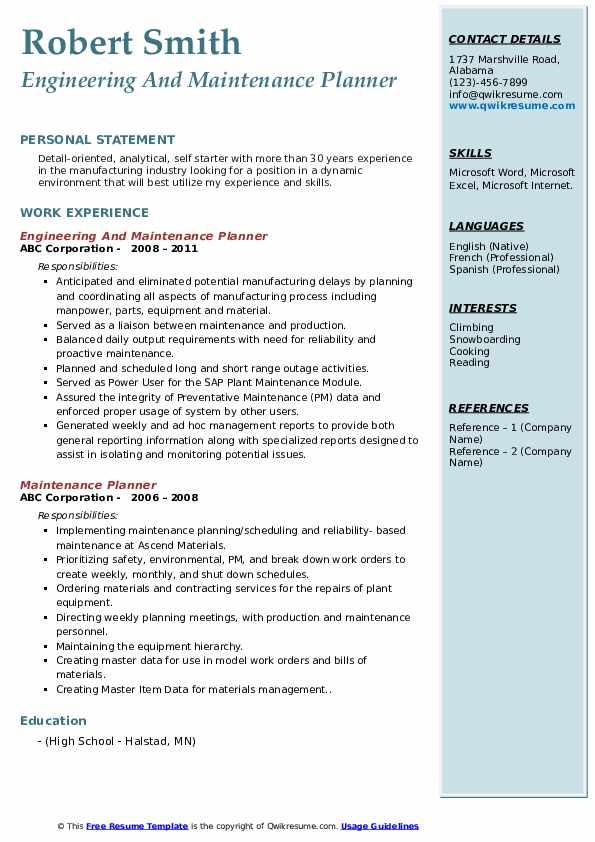 Engineering And Maintenance Planner Resume Sample