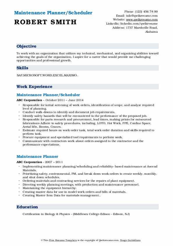 Maintenance Planner/Scheduler Resume Model