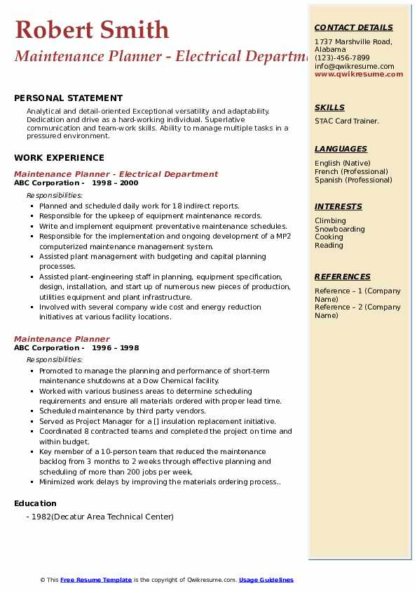 Maintenance Planner - Electrical Department Resume Example
