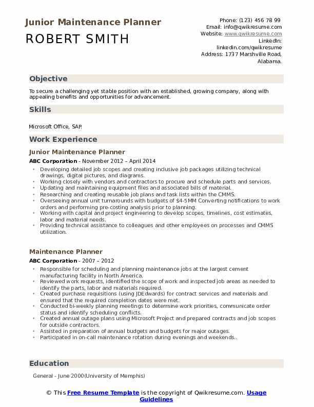 Junior Maintenance Planner Resume Format