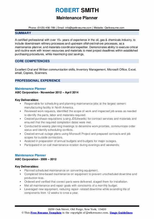 maintenance planner resume samples