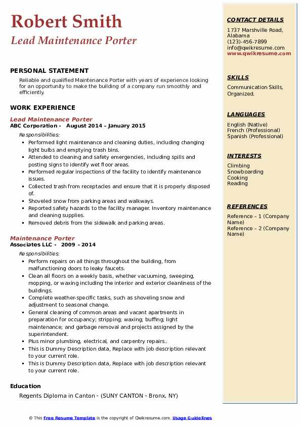 Maintenance Porter Resume Samples Qwikresume