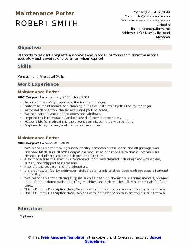 Maintenance Porter Resume example