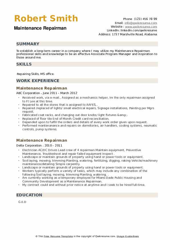 Maintenance Repairman Resume example