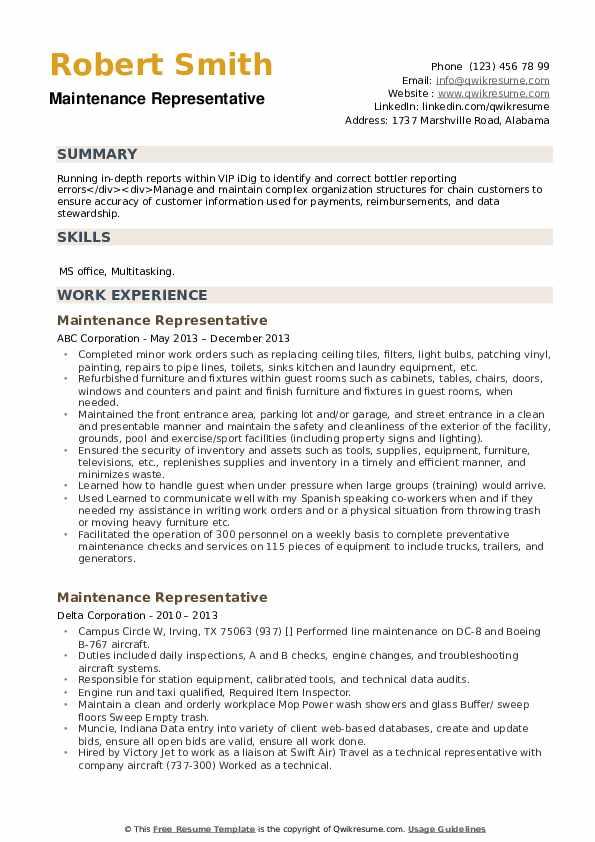 Maintenance Representative Resume example