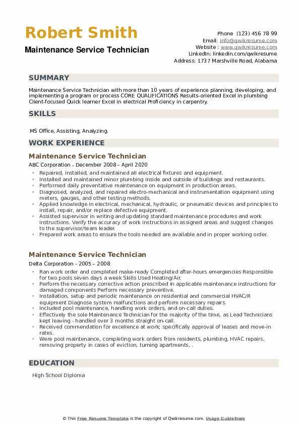 Maintenance Service Technician Resume example
