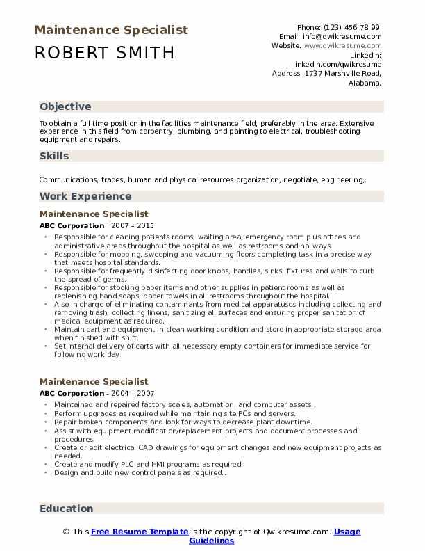 Maintenance Specialist Resume Sample