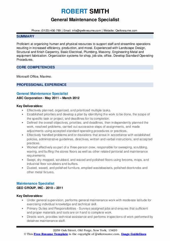 General Maintenance Specialist Resume Sample