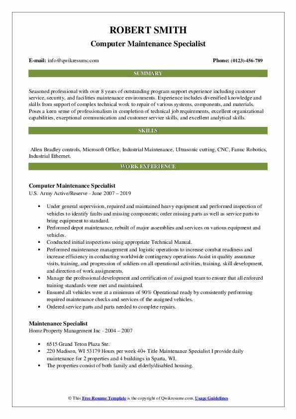 Computer Maintenance Specialist Resume Model