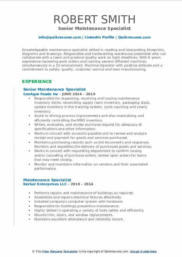 Senior Maintenance Specialist Resume Template