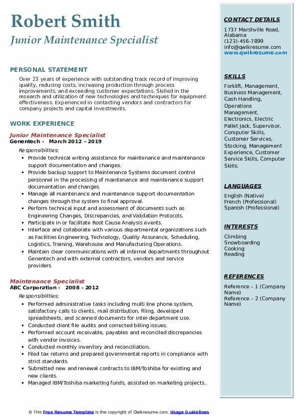 Junior Maintenance Specialist  Resume Model