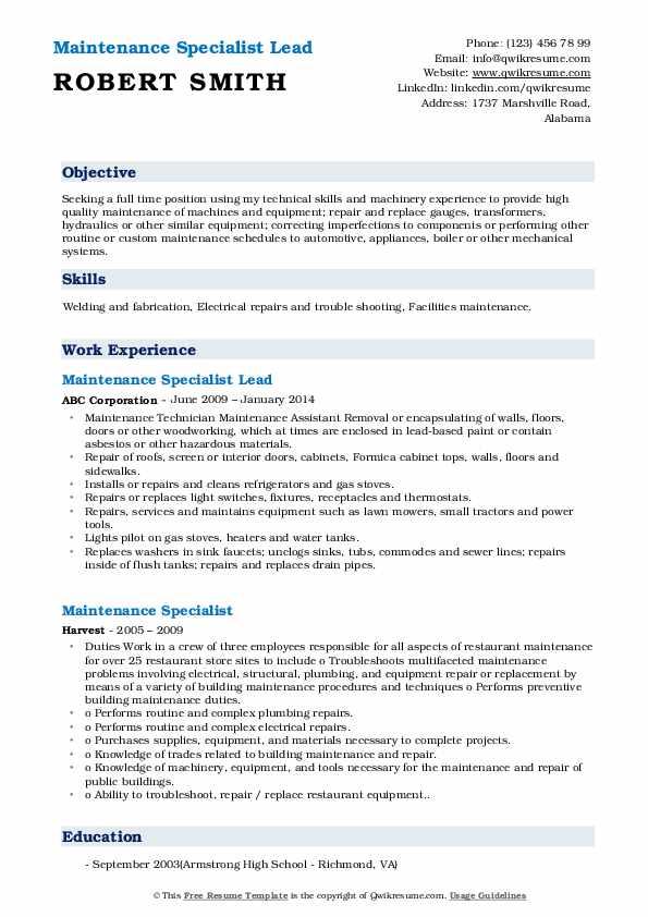 Maintenance Specialist Lead Resume Model