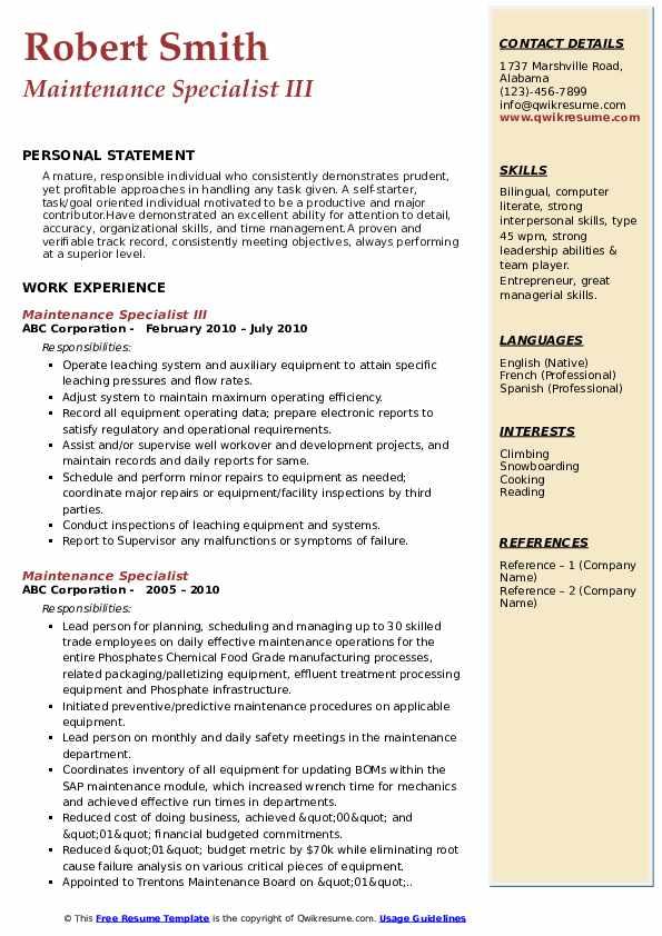 Maintenance Specialist III Resume Example