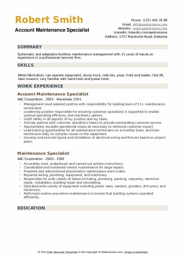 Account Maintenance Specialist Resume Template