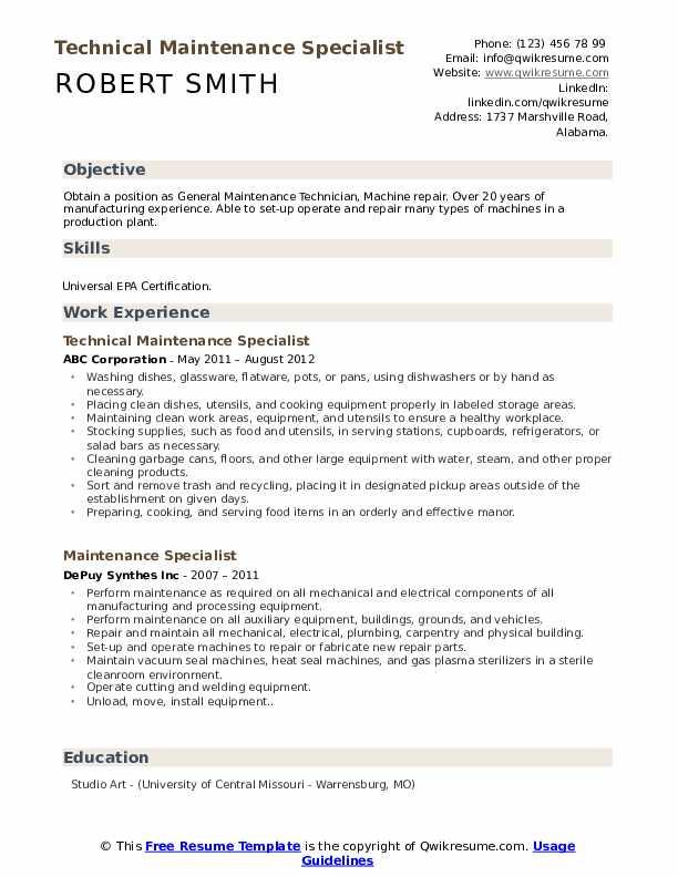 Technical Maintenance Specialist Resume Model