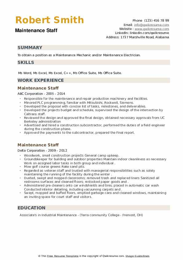 Maintenance Staff Resume example