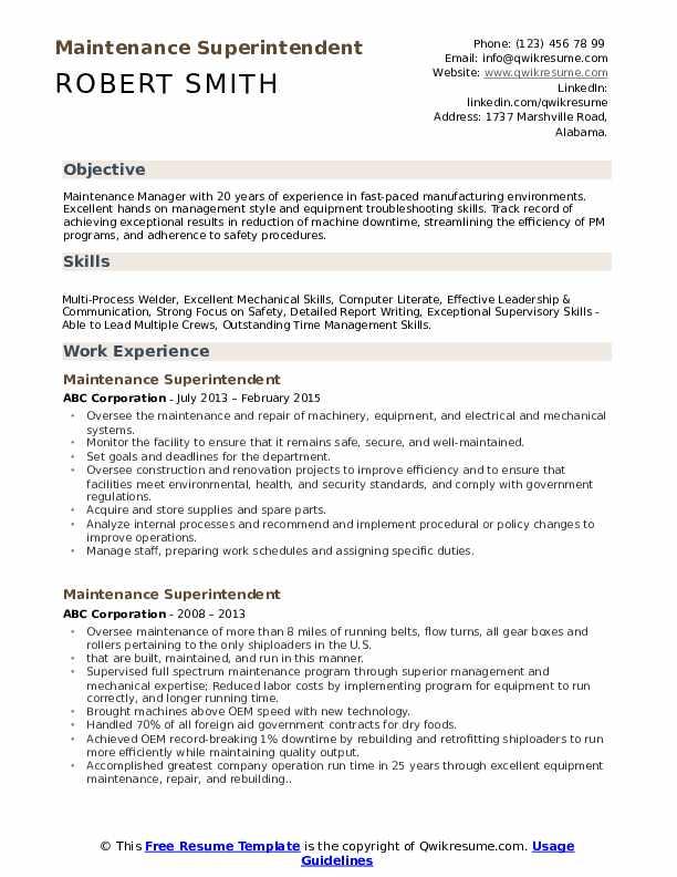Maintenance Superintendent Resume Model