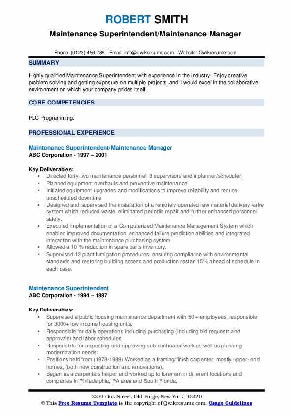 Maintenance Superintendent/Maintenance Manager  Resume Template