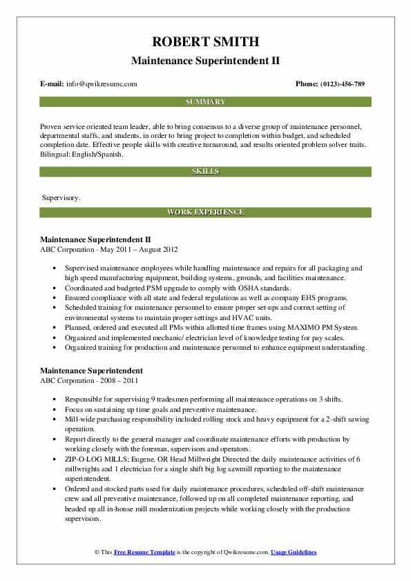 Maintenance Superintendent II Resume Model
