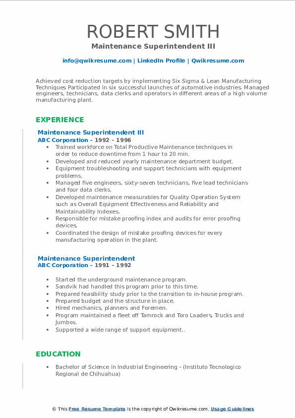 Maintenance Superintendent III Resume Example