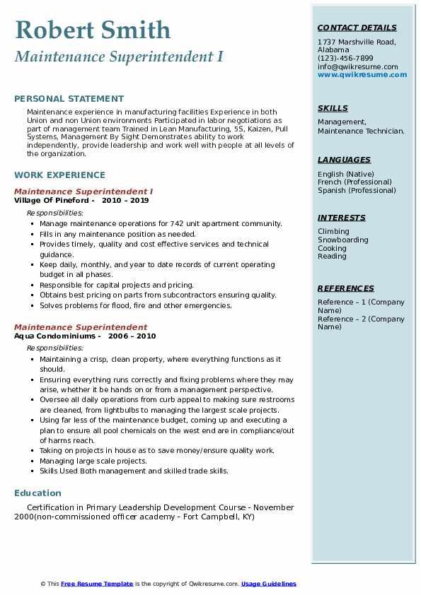 Maintenance Superintendent I Resume Template