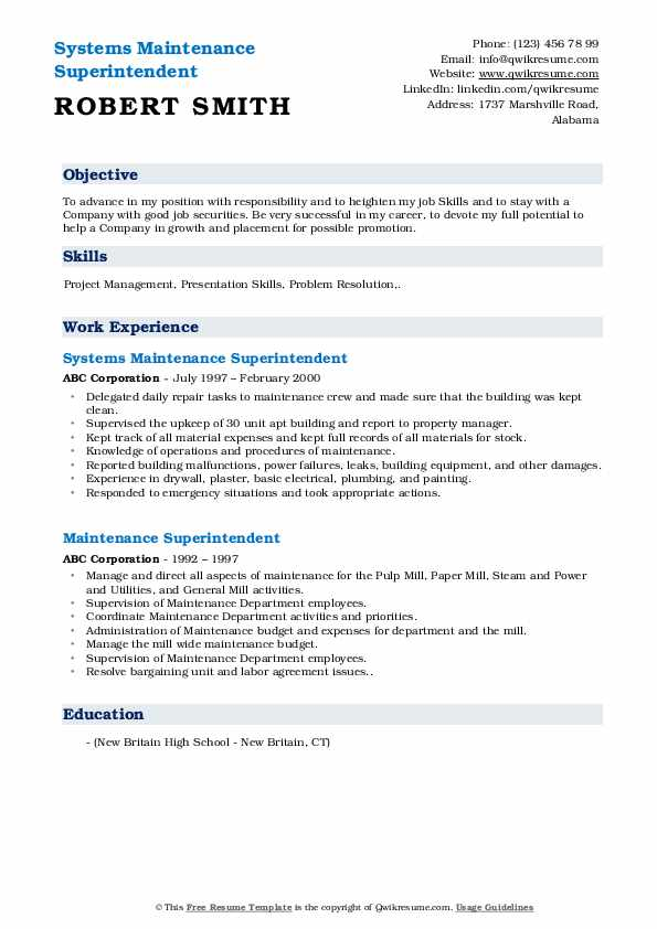Systems Maintenance Superintendent Resume Example