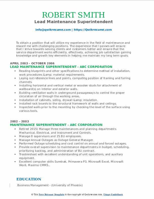 Lead Maintenance Superintendent Resume Model