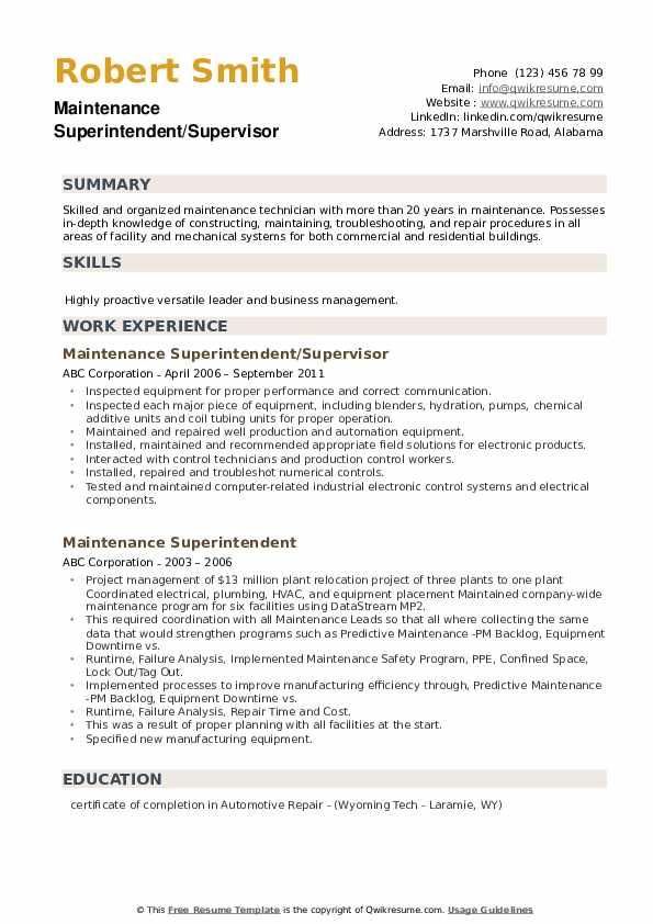 Maintenance Superintendent/Supervisor Resume Format