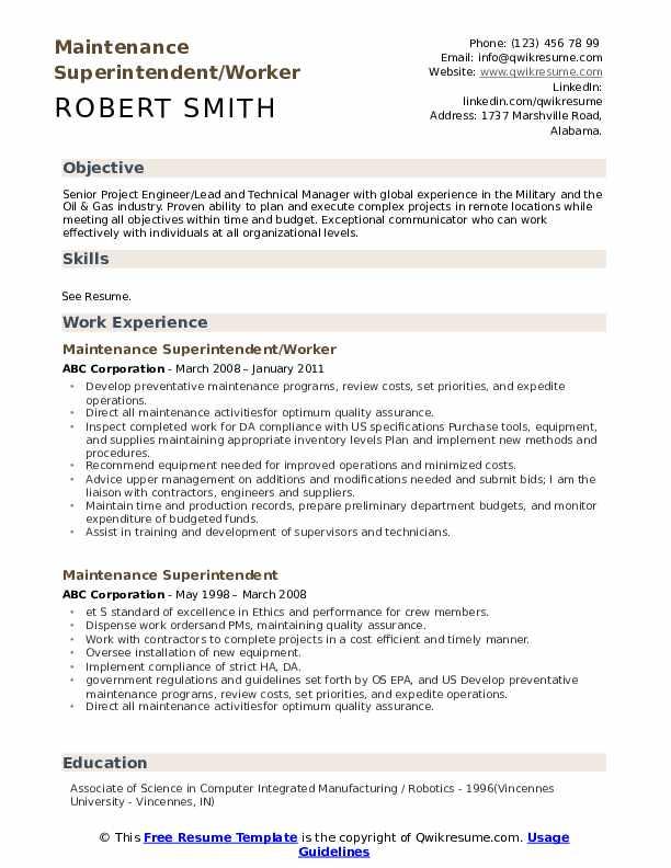 Maintenance Superintendent/Worker Resume Sample