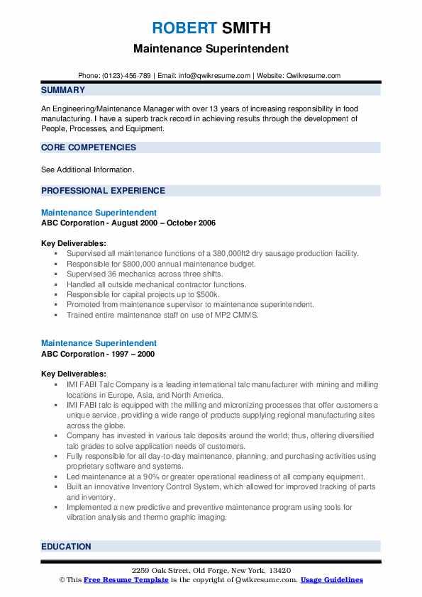 Maintenance Superintendent Resume example